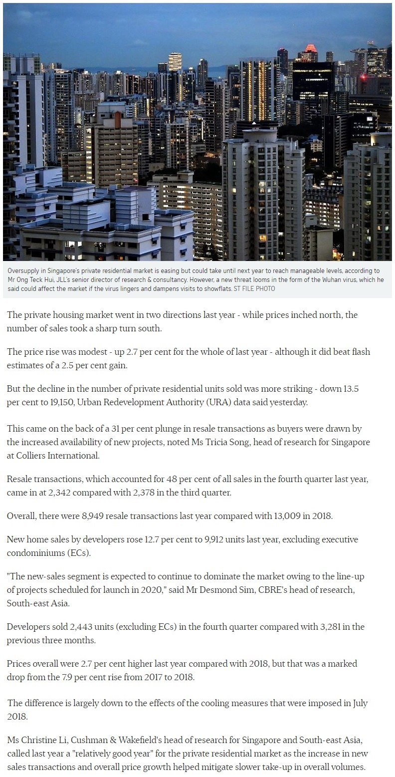 The Watergardens - Singapore private home prices inch up 2.7% for 2019 Part 1