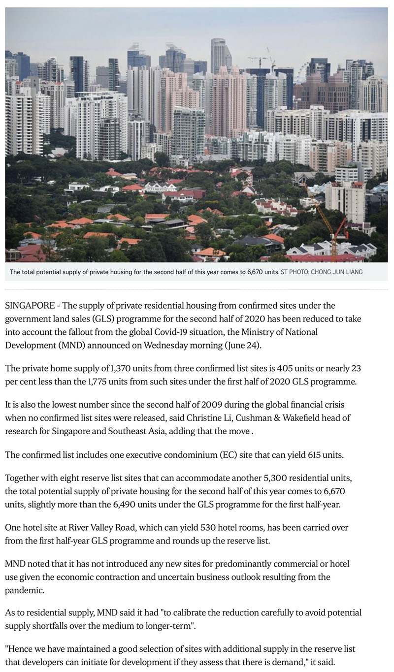 The Watergardens - Govt cuts private housing supply from confirmed land sale sites due to Covid-19 fallout -1