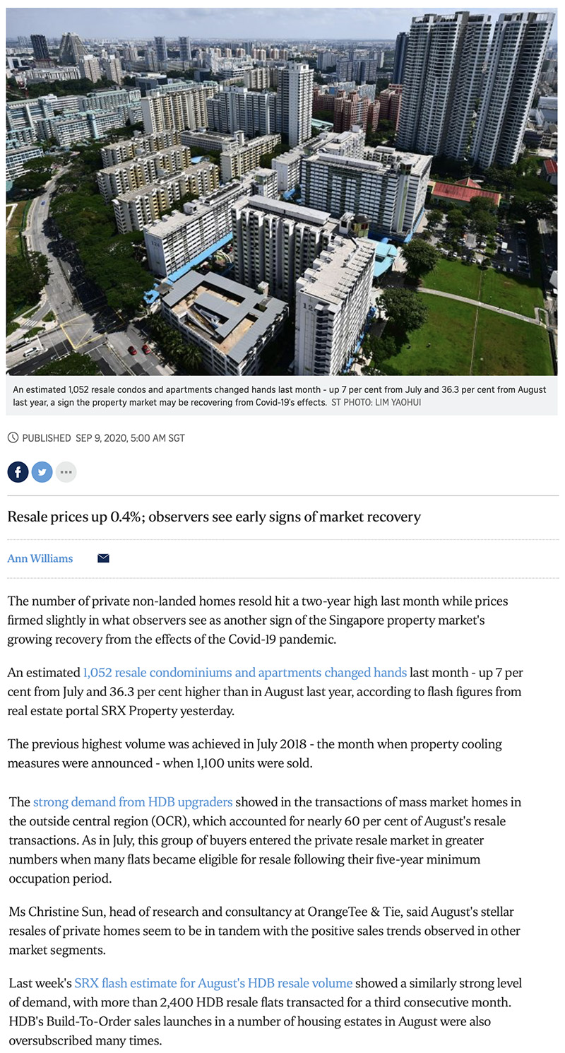 The Watergardens - Private home resale volume hits 2-year high in Aug: SRX 1